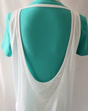 adidas Damen-Sport-Shirt mit Mesh-Halsausschnitt, weiss