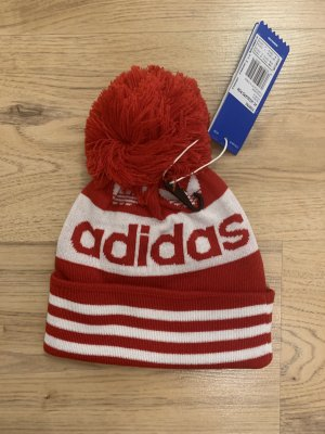 Adidas Cappello con pon pon rosso-bianco