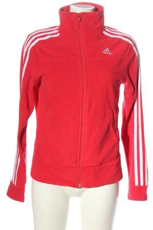 Adidas Fleecejacke rot-weiß Casual-Look