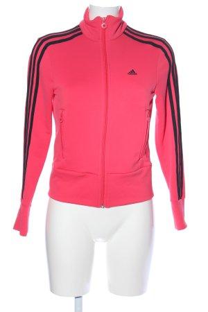 Adidas Fleece Jackets pink-black striped pattern athletic style