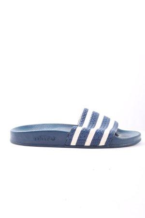 Adidas Botas de casa azul-blanco estampado a rayas look casual