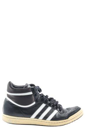 Adidas Basket montante noir-blanc motif rayé style décontracté