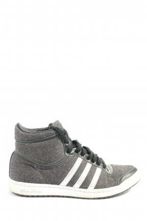 Adidas High Top Sneaker light grey-white striped pattern casual look