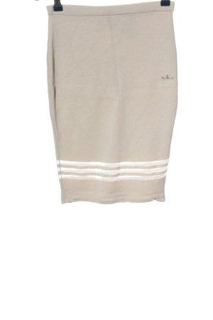 Adidas High Waist Rock creme-weiß Streifenmuster Casual-Look