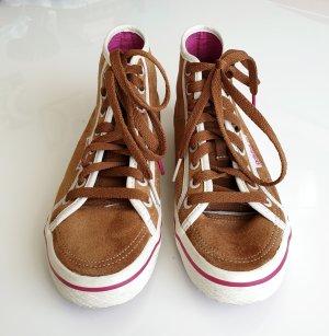Adidas Wysokie trampki jasnobrązowy-biały