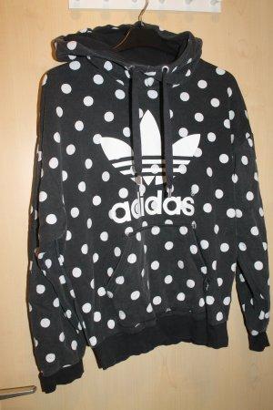 Adidas Pull à capuche noir-blanc tissu mixte
