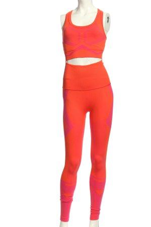 Adidas Jersey Twin Set hellorange-pink abstraktes Muster sportlicher Stil
