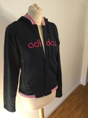 Adidas Kurtka z kapturem czarny-magenta Bawełna