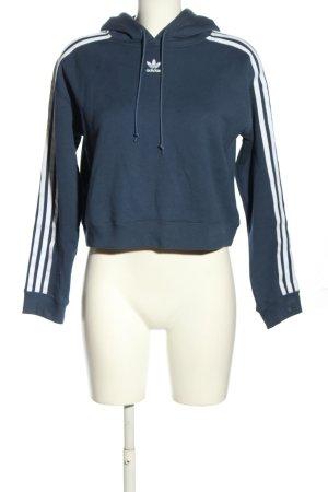Adidas Kapuzenpullover blau-weiß Streifenmuster sportlicher Stil