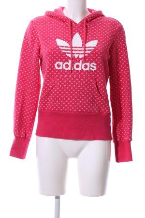 Adidas Kapuzenpullover rot-weiß Allover-Druck Casual-Look