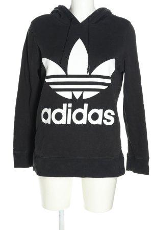 Adidas Pull à capuche noir-blanc imprimé avec thème style décontracté