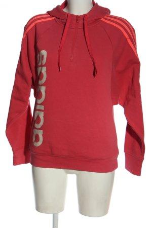 Adidas Kapuzensweatshirt rot-weiß Schriftzug gedruckt Casual-Look
