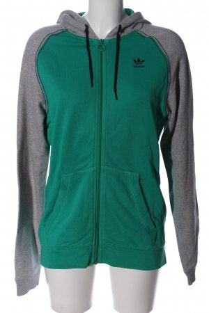 Adidas Kapuzensweatshirt grün-hellgrau meliert sportlicher Stil