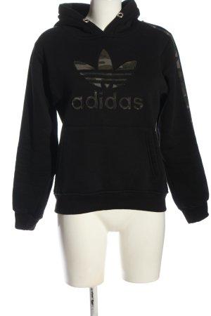 Adidas Felpa con cappuccio nero Stampa a tema elegante