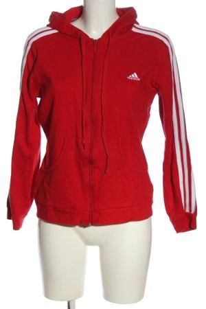 Adidas Chaqueta de tela de sudadera rojo-blanco look casual
