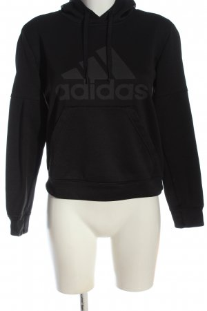 Adidas Hooded Sweatshirt black-light grey flecked casual look