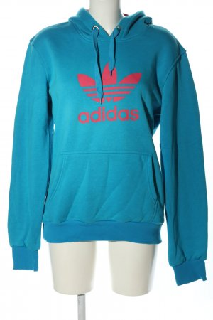 Adidas Hooded Sweatshirt blue-red themed print casual look
