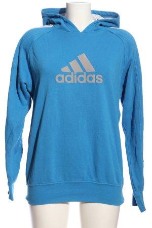 Adidas Kapuzensweatshirt blau-hellgrau Motivdruck Casual-Look
