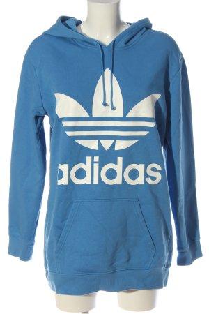 Adidas Sudadera con capucha azul-blanco estampado temático look casual