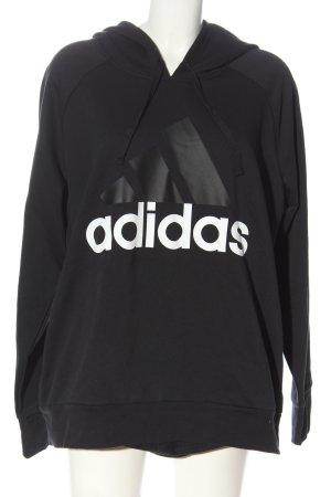 Adidas Sudadera con capucha negro-blanco estampado temático look casual