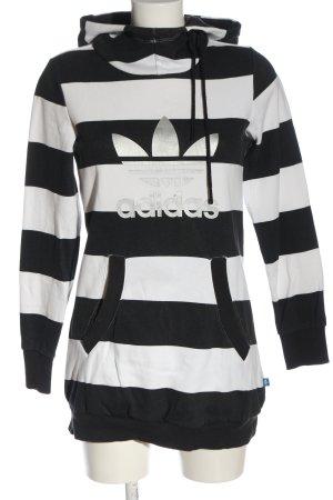 Adidas Sweat à capuche noir-blanc imprimé avec thème style décontracté