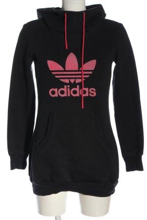 Adidas Sweat à capuche noir-rose imprimé avec thème style décontracté
