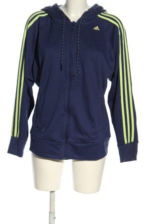 Adidas Hooded Sweatshirt blue-green striped pattern athletic style