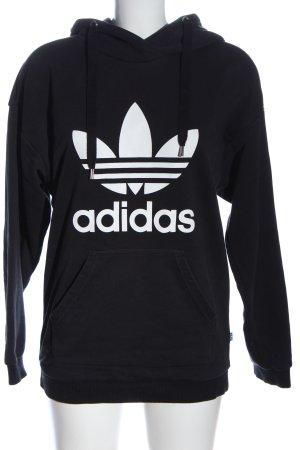 Adidas Sweat à capuche noir-blanc style décontracté