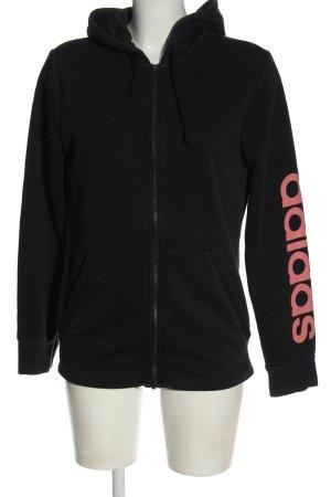 Adidas Kapuzensweatshirt schwarz-pink Schriftzug gedruckt Casual-Look