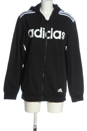 Adidas Kapuzensweatshirt schwarz-weiß Schriftzug gedruckt sportlicher Stil