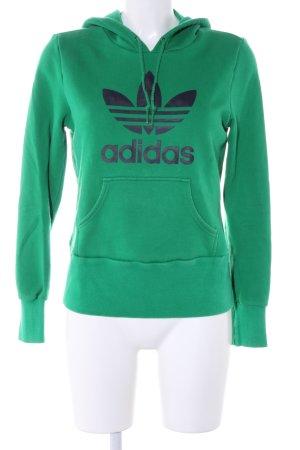 Adidas Kapuzensweatshirt grün Schriftzug gedruckt Casual-Look