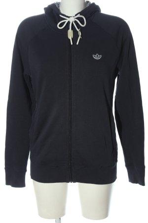 Adidas Sweat à capuche bleu-blanc lettrage brodé style décontracté