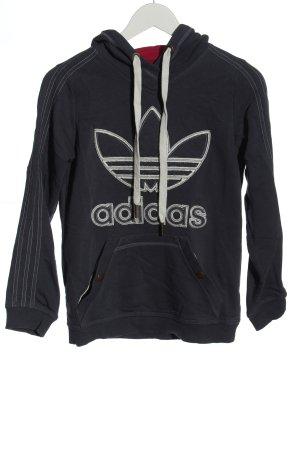 Adidas Sweatshirt met capuchon zwart-wit prints met een thema casual uitstraling