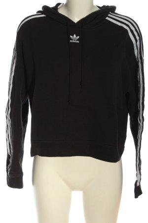 Adidas Sudadera con capucha negro-blanco estampado a rayas look casual