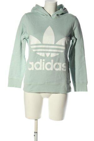 Adidas Hooded Sweatshirt khaki-white printed lettering casual look