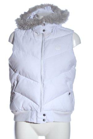 Adidas Chaleco con capucha blanco estampado acolchado look casual