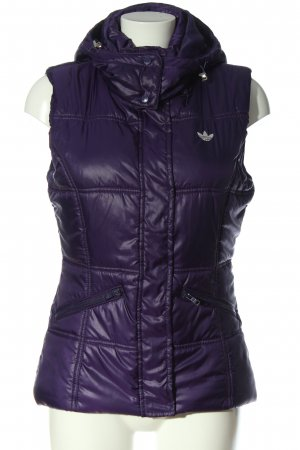Adidas Capuchon vest lila quilten patroon casual uitstraling