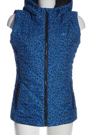 Adidas Kapuzenweste blau-schwarz Leomuster Casual-Look