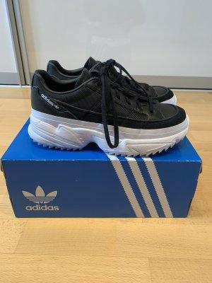 Adidas Sznurowane trampki czarny-biały Tkanina z mieszanych włókien