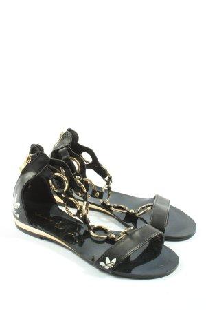 Adidas Komfort-Sandalen schwarz-weiß Motivdruck Casual-Look