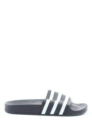Adidas Badeslipper schwarz-weiß Streifenmuster Casual-Look