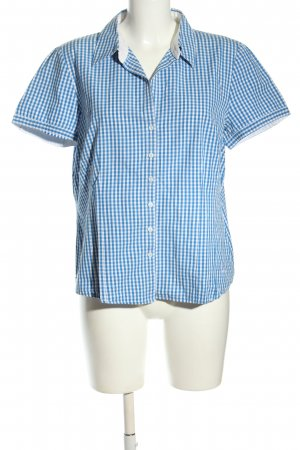 Adidas Kurzarm-Bluse blau-weiß Karomuster Casual-Look