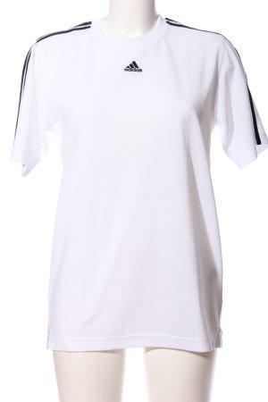 Adidas Kurzarm-Bluse weiß-schwarz Streifenmuster sportlicher Stil