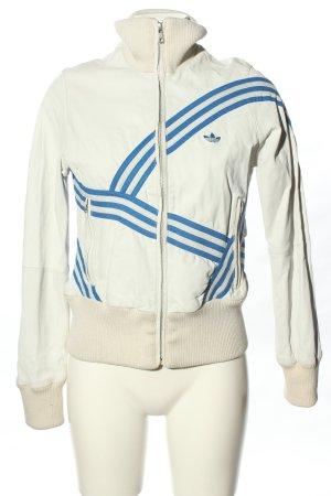Adidas Lederjacke weiß-blau Streifenmuster sportlicher Stil