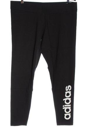 Adidas Legging noir-blanc lettrage imprimé style décontracté