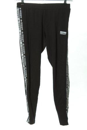 Adidas Leggings schwarz-weiß Schriftzug gedruckt sportlicher Stil