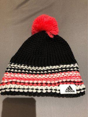 Adidas Knitted Hat black-neon red