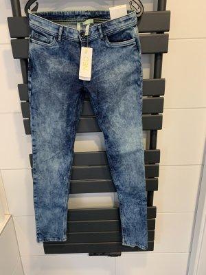 Adidas NEO Jeans skinny bleu acier-blanc