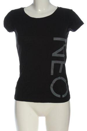 Adidas NEO Shirt basique noir-argenté imprimé avec thème style décontracté