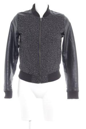 Adidas NEO Collegejacke schwarz-silberfarben meliert Lederelemente